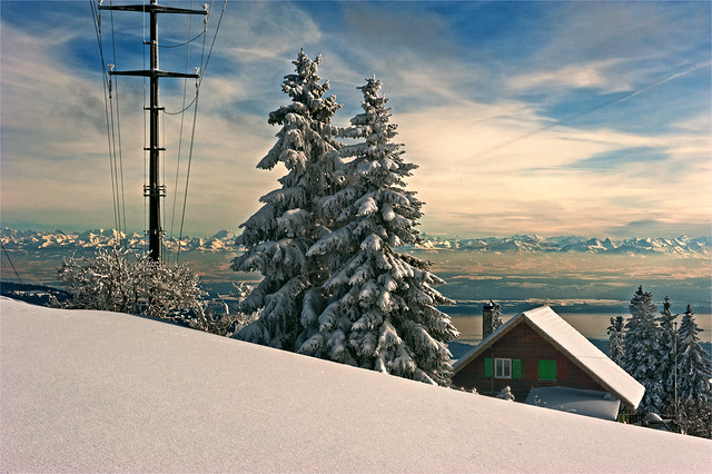 A view to the Alps. Jura Mountains at winter time .February 10, 2013. No. 3171.