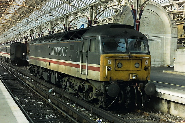 Class 47 in Intercity livery at Dover Western Dock station.