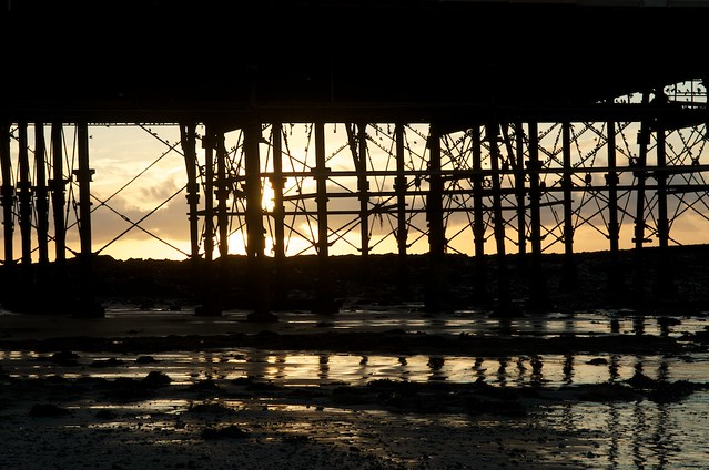 Underneath the pier at golden hour