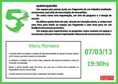 5.ª Questão Manu Romeiro - 07-03-2013