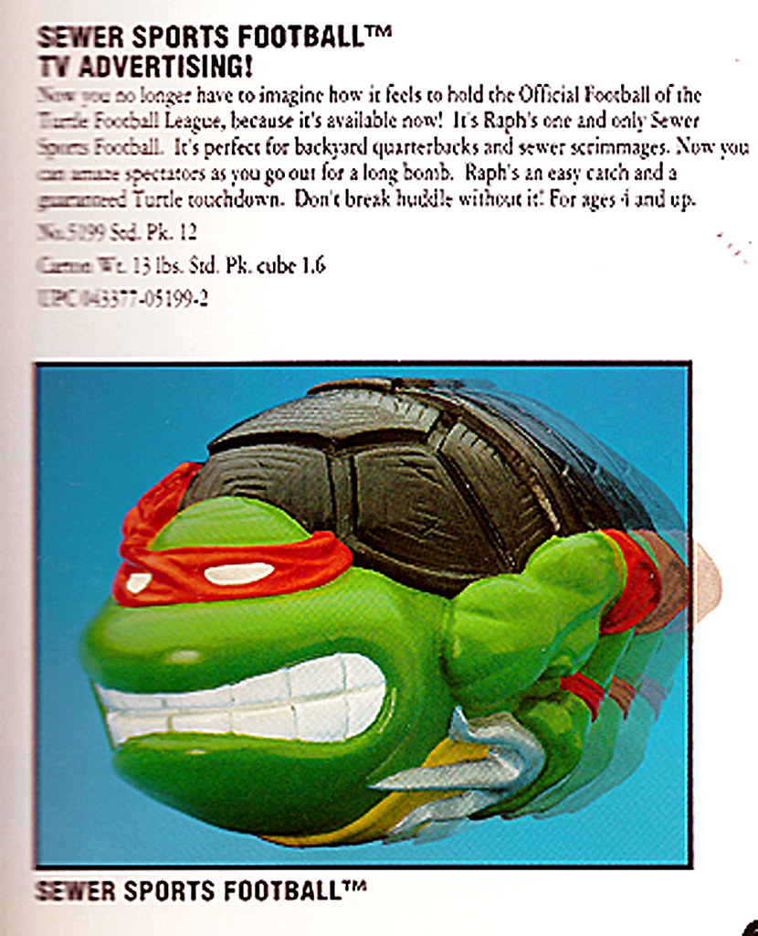 TEENAGE MUTANT NINJA TURTLES :: RAPHAEL'S SEWER SPORTS FOOTBALL ii / .. Playmates catalog listing '92  (( 1992 ))  [[ Courtesy of Vaughn Michael ]] by tOkKa