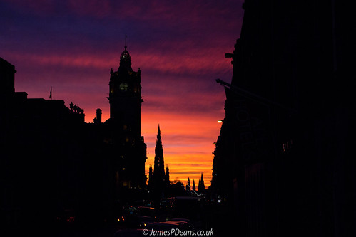 architecture edinburgh europe lothian nighttimeshot scotland timeofday uk unitedkingdom spire steeple sunset tower britain gb