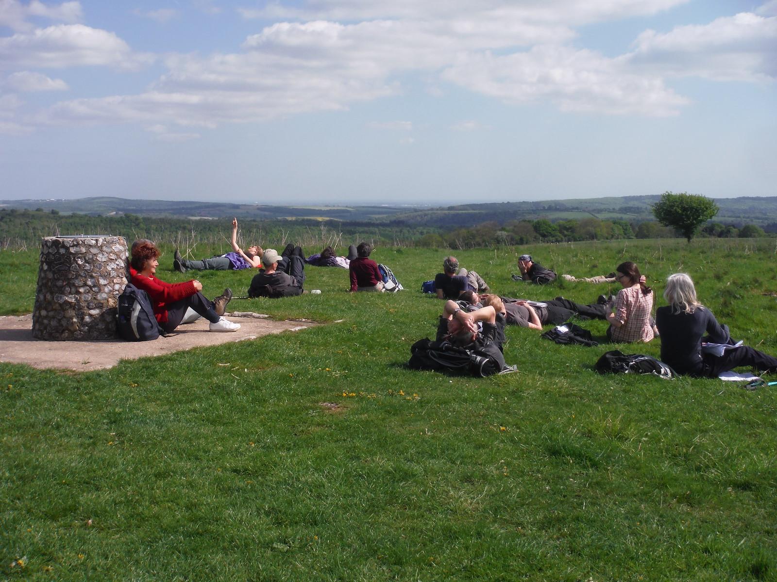 Toposcope on Beacon Hill, the SWC having a sunny break SWC Walk Rowlands Castle Circular - Extension