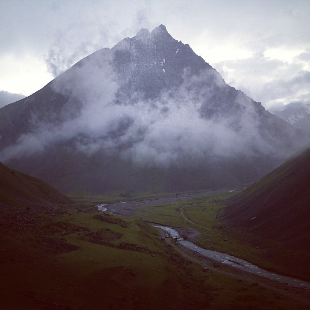 misty #mountain #mountains #france #alps #river #grass #fog #valley