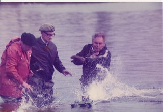 Heaton Model Boats, Tom Clement launching a Hydro, with Jimmy Jones aiding