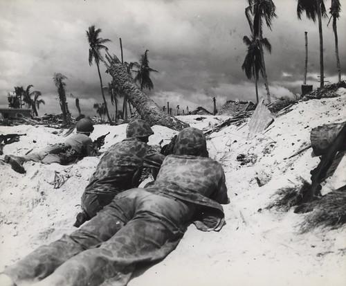 Marines Advance on Japanese Pill Boxes, Tarawa, November 1943   by Archives Branch, USMC History Division