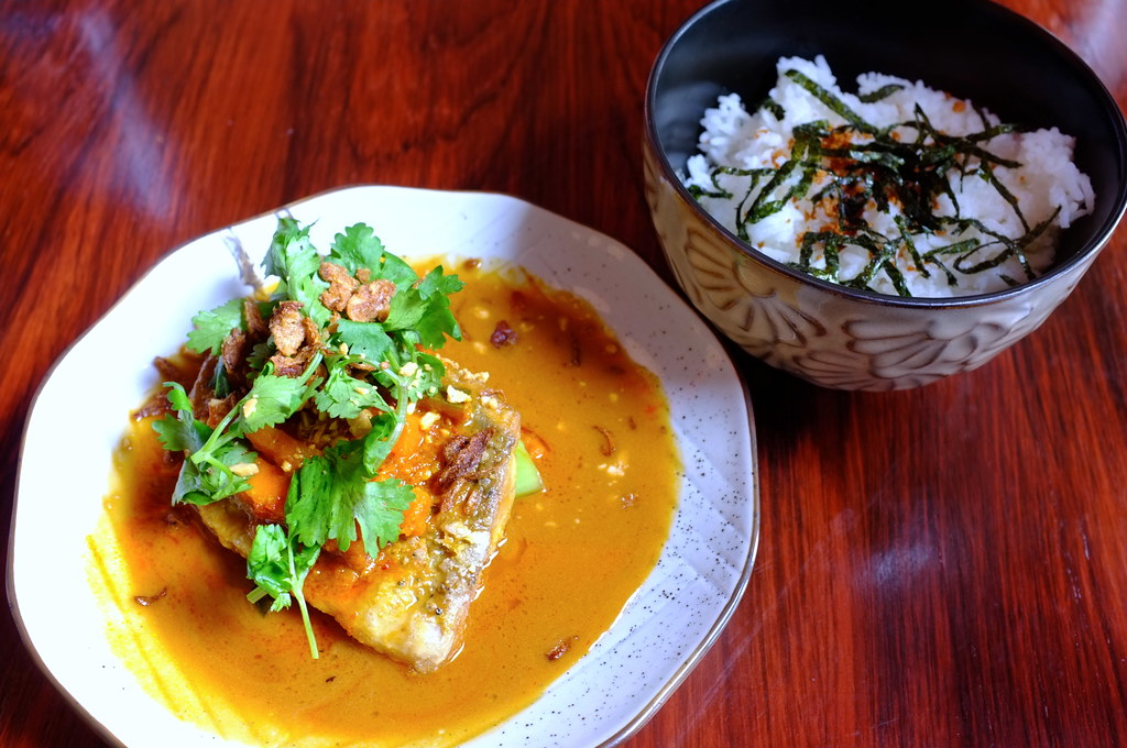 Saltwater Barramundi with malay curry and Achar