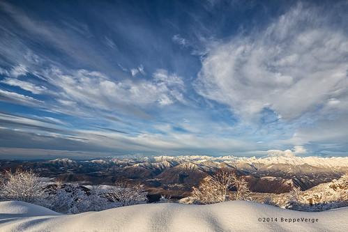 snow alps clouds sunrise dawn nuvole alba neve inverno alpi mottarone beppeverge