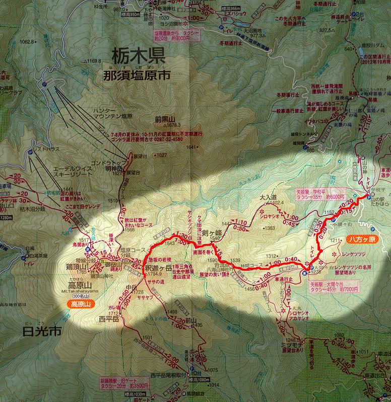 高原山の地図