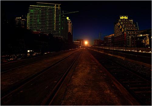 road camera city sunset night liberty downtown village tracks rail condos cpr neighbourhood iphone onasill