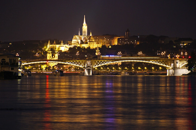 Budapest: the Fisherman's Bastion and the Matthias Church with the Margaret bridge at night 2