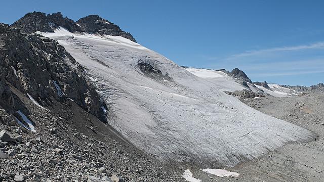 receding glacier on north side Sorcerer Mt, 2602m