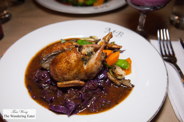Evening's special: Roast quail stuffed with homemade sausage, braised red cabbage with black truffles