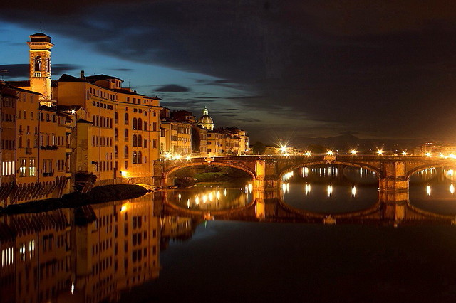 () Evening view from Ponte Vecchio Florence.