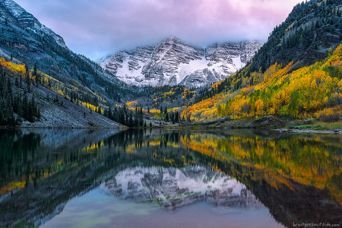 travel autumn trees mountain lake snow reflection fall nature water colors clouds sunrise landscape nikon colorado wideangle aspen maroonbells 2014 d610