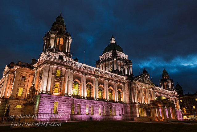 Belfast city hall at dusk