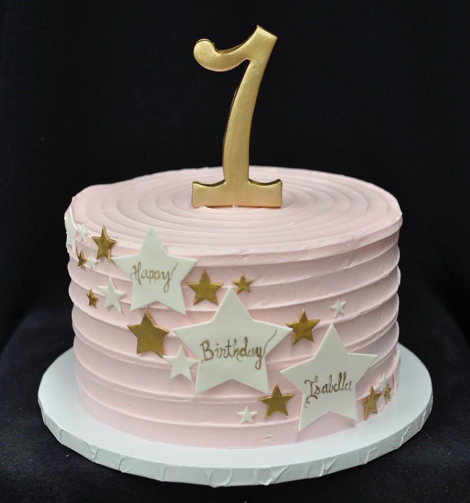 Sensational Gold White Pink Star Birthday Cake Jenny Wenny Flickr Personalised Birthday Cards Veneteletsinfo