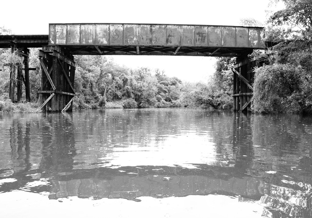 Pony Girder Railroad Bridge over Cedar Bayou, Baytown, Texas 1309281527BW
