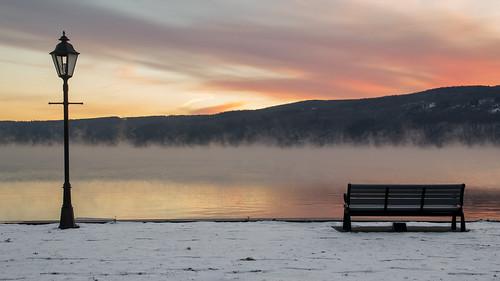 morning winter mist lake snow water fog sunrise dawn parkbench fingerlakes keuka