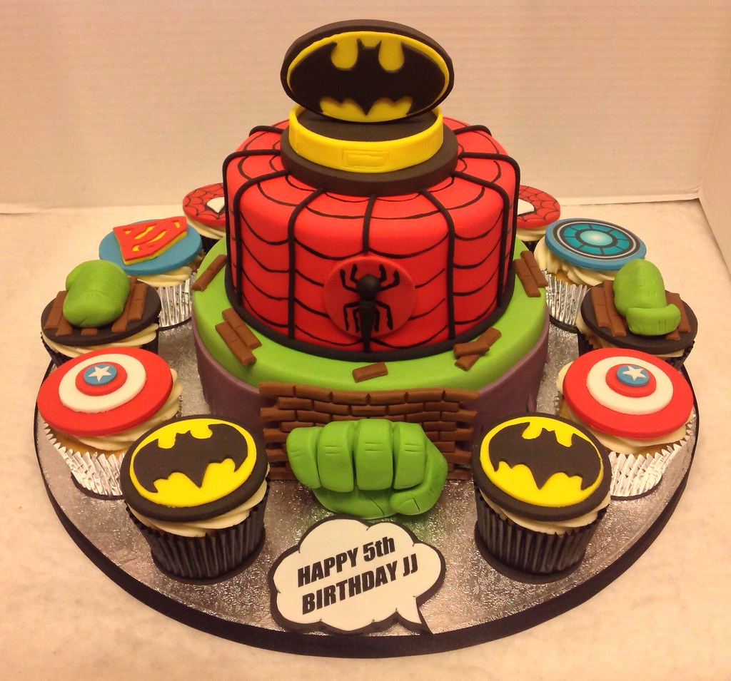 Terrific Superhero Birthday Cake Cupcakes Liz Flickr Personalised Birthday Cards Rectzonderlifede