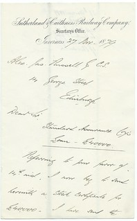 Sutherland and Caithness Railway letter 1879 | by ian.dinmore