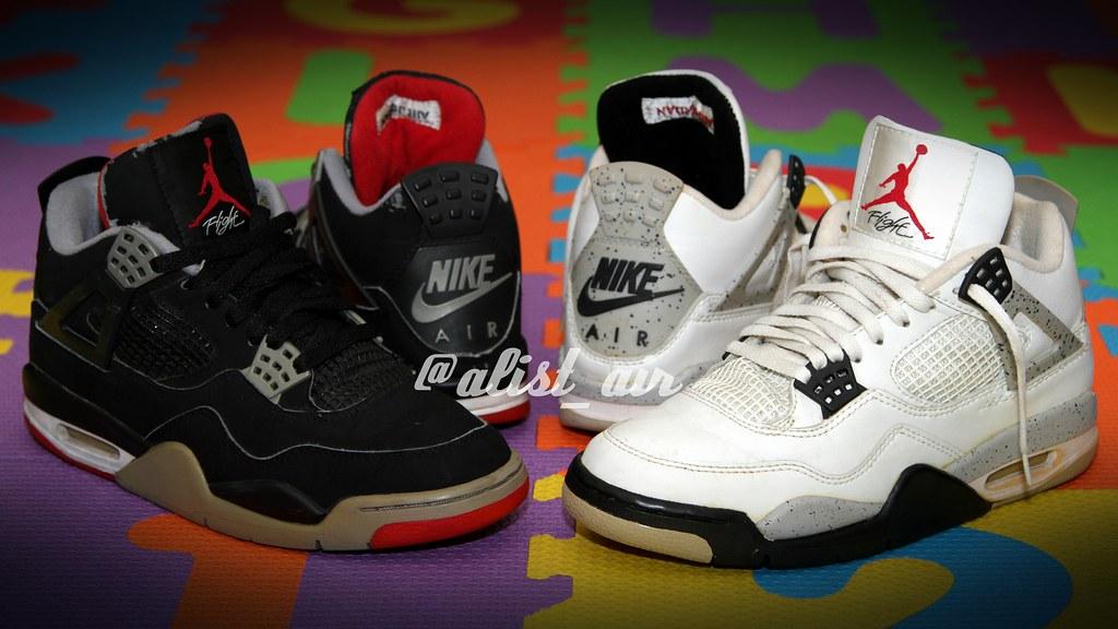 quality design ff9e5 3f6b5 ... 1999 Air Jordan 4 Black Cement Bred vs 1999 Air Jordan 4 White Cement  Cookies and