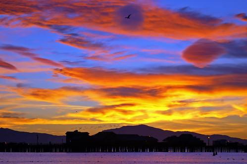 stearnswharf clouds santabarbara california sunrise silhoeutte pier nikon d100 nikond100 february 2004 cloudy day free creativecommons