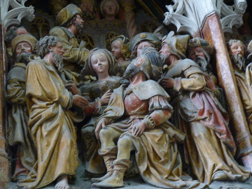 amiens cathedral - polychrome stone carving