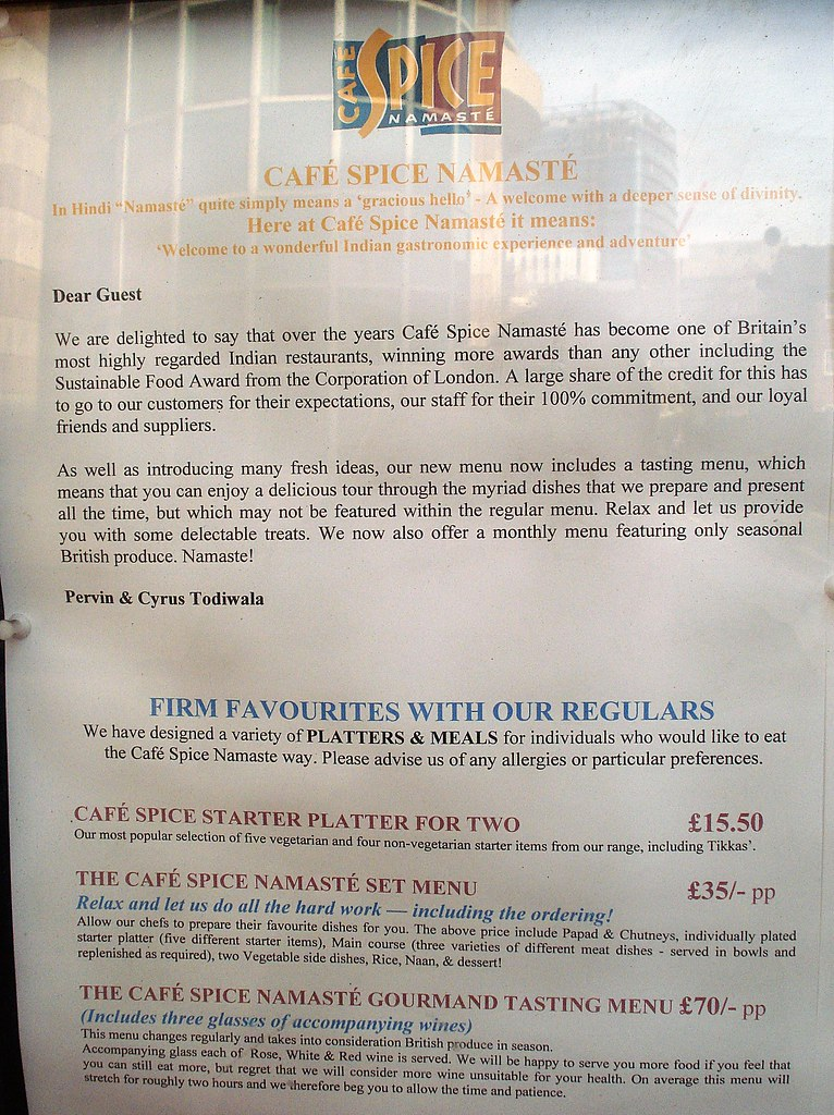 Cafe Spice Namaste, Whitechapel, London E1 | Links: Randomne
