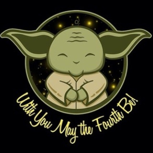 "Yoda saying ""With you, may the 4th be"""