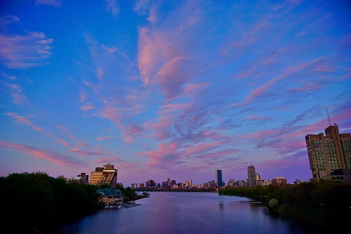 bridge sunset boston skyline river newengland charles bu pw