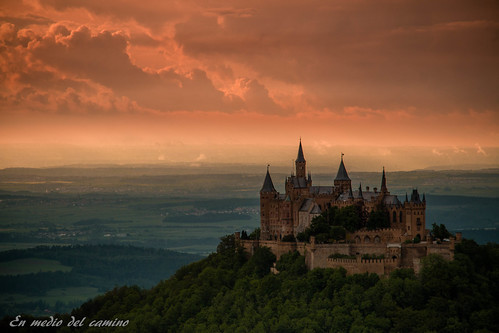 europa europe alemania germany sunset outdoors lanscape sky castillo castle olina hill bosque woods nubes clouds badenwurtemberg hohenzollern serenity
