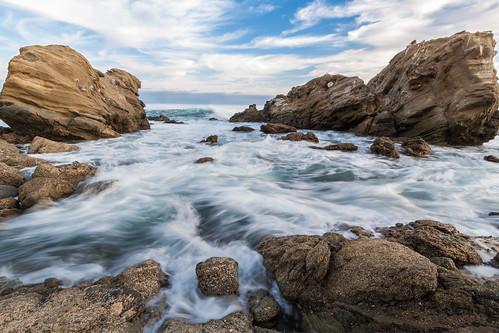 sunset sea seascape beach water clouds rocks waves pacific lagunabeach