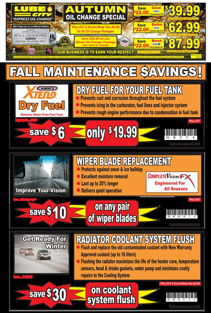 Deals On Oil Changes >> Alberta Oil Change Coupons Deals Save 20 Lube City