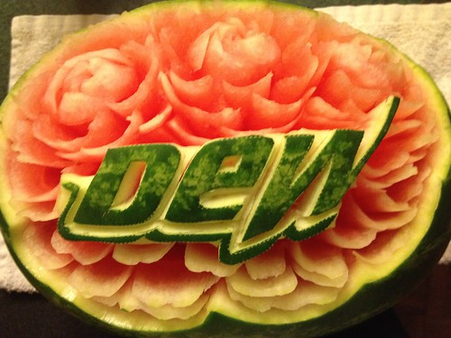2014 Mountain Dew watermelon display for a post funeral