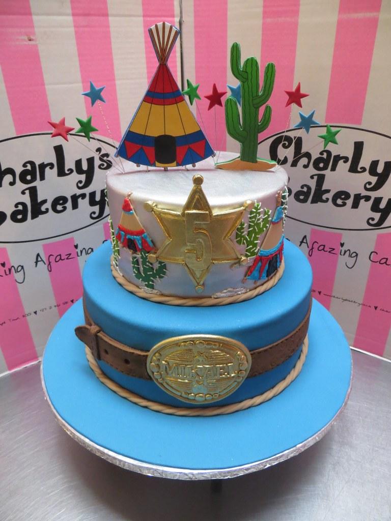 Peachy 2 Tier Cowboy Western Themed Birthday Cake Decorated With Flickr Funny Birthday Cards Online Alyptdamsfinfo