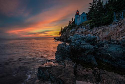 sunset lighthouse sunrise maine acadia bassharbor acadianationalpark bassharborheadlighthouse anawesomeshot