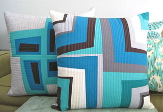 Modern Log Cabin Pillows | by Sew Katie Did