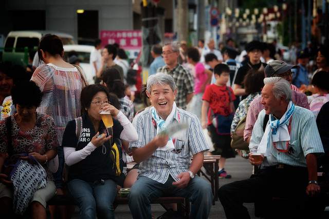 Spectators at the Akita Kanto Festival waiting for the festival to start