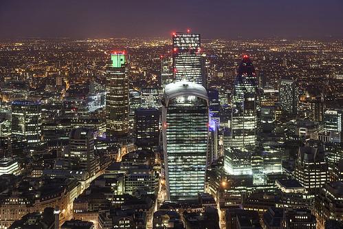 city uk england urban london architecture night view skyscrapers aerial shard davidbank
