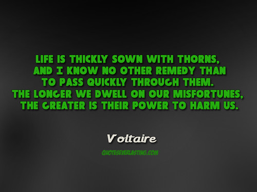 """""""Life is thickly sown with thorns. And I know no other remedy than to pass quickly through them..."""" - Voltaire   by QuotesEverlasting"""