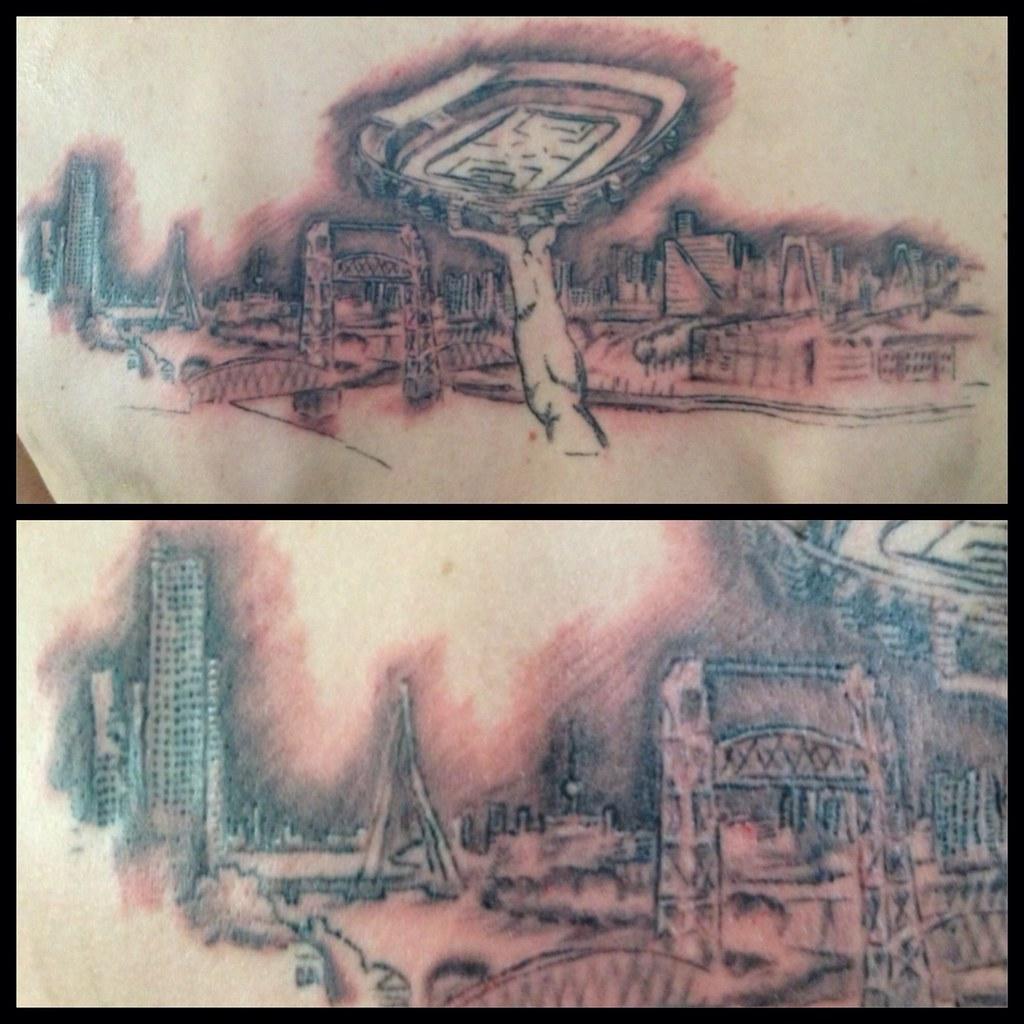Jeroens Tattoo Of The Skyline Of Rotterdam With Feyenoord