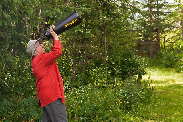 A Shrunken Ute Wilder trys to spot the UFO that shrunk her