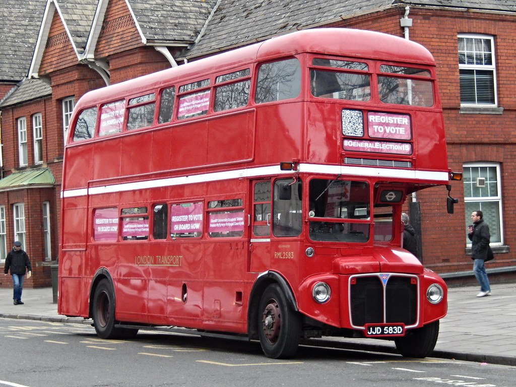 London red Routemaster bus, Cardiff, Wales, UK