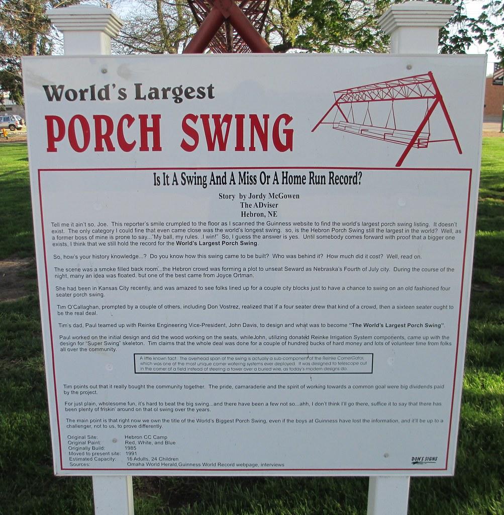 World S Largest Porch Swing Marker Hebron Nebraska Flickr