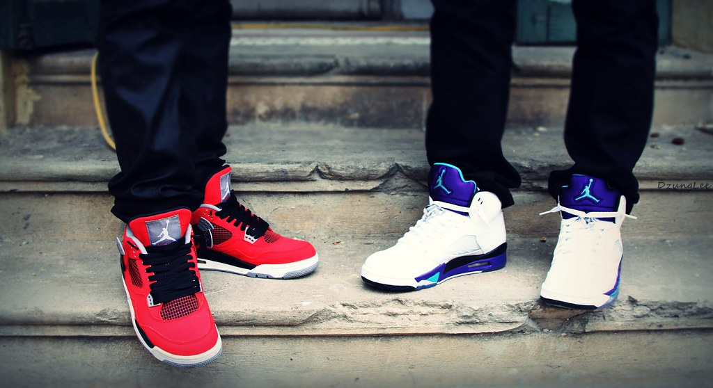 41675ee12213 ... Jordan 4 Toro feat. Jordan 5 Grape On Feet