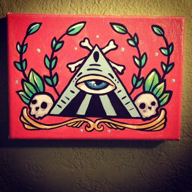 All seeing eye illuminati tattoo art painting acrylic