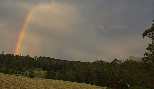 storm clouds countryside rainbow overcast showers sunbeams blueknob mountburrell mackellarrange