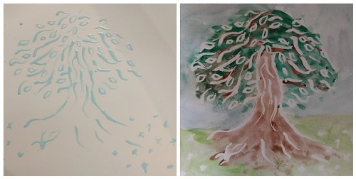 Creating a watercolour and frisket tree | by Ruth and Dave