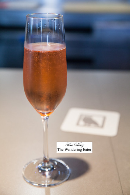 My glass of Champagne Paul Bara, Bouzy, Brut Rosé Grand Cru